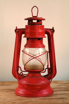 Red oil lamp.  I have several of these old lanterns.