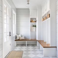 A mud room, by virtue of its existence, makes all the other rooms in the house so much tidier. I have 10 things to include in a Mud Room here. Mudroom Laundry Room, Farmhouse Laundry Room, Laundry Room Design, Farmhouse Flooring, Mudroom Shelf, Gray Laundry Rooms, Mudrooms With Laundry, Mud Room Lockers, Built In Lockers