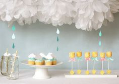 baby thingamabobs: Party theme - cloud & raindrops