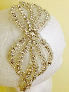 Rhynestone headband for flower girl. fist communion. by 3BusyBirds, $38.00