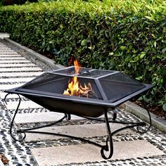 Steel Fire Hamilton 30 In Square Pit Outdoor Wood Patio Burning Black Poker Mesh for sale online Fire Pit Decor, Fire Pit Grill, Metal Fire Pit, Wood Burning Fire Pit, Concrete Fire Pits, Fire Wood, Fire Pit Pergola, Fire Pit Seating, Fire Pit Backyard