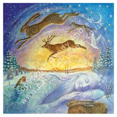 We have a wonderful selection of Yule gift ideas at Goddess Temple Gifts, to inspire you this festive season. At Yule, The Winter Solstice, we embrace the silence, take time to send blessings of l… Illustrations, Illustration Art, Lapin Art, Winter Festival, Summer Solstice, Happy Solstice, Wiccan, Pagan Yule, Vikings