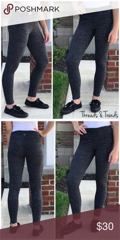 🆕🌸 Space Dyed Athletic Leggings Space dyed charcoal grey athletic leggings. Made of a cotton/poly spandex blend. Super soft and stretchy. Great everyday day wear. Pair with tops, jackets, sweaters. Size S/M, M/L Threads & Trends Pants Leggings