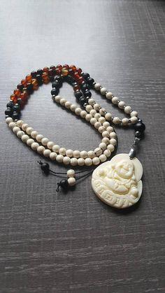 Mala gemstones 108 beads Buddha Beaded Necklace, Beaded Bracelets, Silk Thread, Etsy, Gemstones, Beads, Beautiful, Jewelry, Buddha