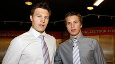 """""""When he played in Toronto, we watched every game. We would talk on the phone after every game; it was always, 'What'd you think?' He's helped me. If I need a pep talk or something during an intermission, he'll say something. We're pretty positive with each other; we try and pump each other up. We know when we made a bad play or a mistake, no need to repeat it. I respect a lot of the other guys in this room and what they say, but when it comes from your brother, you listen."""" -Brayden Schenn"""
