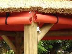 Tiki Bar Canvas Side Panels - great for that temporary shelter from the glaring morning or afternoon sun on a porch! Gazebo Side Panels, Outdoor Tiki Bar, Outdoor Bars, Indoor Outdoor, Outdoor Living, Gazebo Wedding Decorations, Pergola Kits, Gazebo Ideas, Patio Ideas
