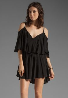 INDAH Zhina Rayon Chiffon Flounce Mini Dress in Black at Revolve Clothing - Free Shipping!