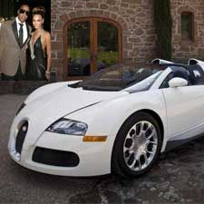 Beyonce-Jay Z (Bugatti Veyron Grand Sport)    She's a gorgeous singer and he's good at rapping. Well, their love for cars also resembles somewhat these characteristics. The bootylicious Beyonce gifted beau Jay-Z a Bugatti Veyron Grand Sport. It is a mid-engine sports car and is said to be too fast for this world and that is not an understatement. This elegant looking beast can push through from a 0-100 in less than three seconds and can get to a top speed of 400 kmph.