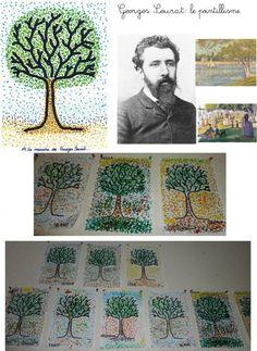 RPI :Ecoles St Germain S/Avre Courdemanche - Les arbres à la manière de Seurat : le pointillisme