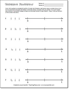 Ordering Fractions on a Number Line Freebie from Laura Candler's Fraction File Cabinet