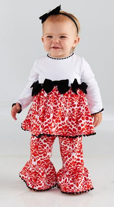 Girl's Red Damask Minky Holiday Pant Set: Mud Pie Baby Girl's Christmas Pant Set