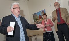 Ian McMillan the Bard of Barnsley launches the Cooper 100 Appeal. Pictured with Lynn Dunning, Project Manager and group Leader for Barnsley Museums and Arts service and Paul Elmhirst, Chair Cooper Art Collection Trust