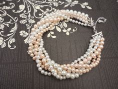 Very Elegant Wedding Bridal Multi Strand Choker Style Necklace with White and Blush Pink Glass Pearls