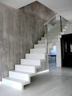 How To Make Concrete Stairs Design 50 Ideas Deck Stair Railing, Concrete Staircase, Tile Stairs, Wood Stairs, House Stairs, Curved Staircase, Home Stairs Design, Interior Stairs, Entryway Stairs