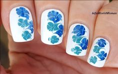 #Blue & #White #Marble #Nailart