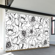 Vintage black and white floral wall mural, illustrated in black pen and ink old engraving style, on a white background. Bedroom Murals, Bedroom Wall, Wall Murals, Graffiti Murals, Flower Mural, Flower Wall Decals, Wall Drawing, Mural Painting, Home And Deco
