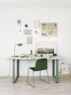 Green and calm   Work space   Office interior inspiration   Green desk chair  Gren desk lamp