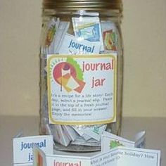 Journal jars. Colorful questions to keep them interested in journaling with out getting writers block