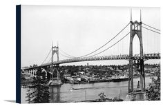 Canvas (Portland, Oregon - View of St. John Bridge over Columbia - Vintage Photograph)