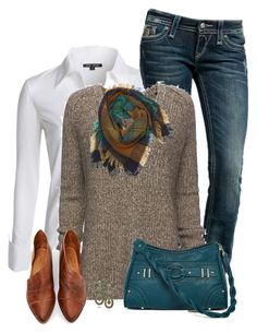 """""""V Neck Sweater"""" by daiscat ❤ liked on Polyvore featuring NIC+ZOE, Rock Revival, ATM by Anthony Thomas Melillo, Rosetti, Free People and Contileoni"""