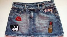 Woman Sequin Patched Jeans Skirt / Girl Patched Denim skirt / Woman Mini Denim Skirt / Woman Denim Eye Skirt