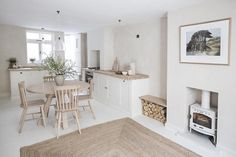 This pretty house designed by I Gigi in Brighton has a light and airy kitchen and living space that would make it feel like summer all year long. Carron Stove available from Stove Supermarket. Terraced House, Open Plan Kitchen Living Room, Cosy Kitchen, Kitchen Ideas, Victorian Terrace, Victorian House, Wood Burner, Little Houses, Beautiful Bathrooms