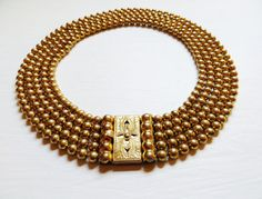 Vintage Statement Necklace Chunky Gold Brass by IfindUseekVintage, $55.00