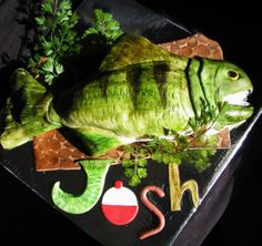 Fish Birthday Cake - Carved Fish Birthday cake for a boy who loves to fish! Blue marble cake covered with fondant and painted with color dust. TFL! :)