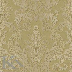 Tapet clasic cu damasc, in culori auriu si bej perfect pentru camera de zi sau dormitor. #tapet, #damask