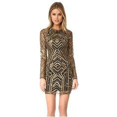 Parker Parker Black Isabelle Dress (12,765 MXN) ❤ liked on Polyvore featuring dresses, gold, sequin dresses, parker dresses, lining dress, long sleeve mesh dress and mesh dress