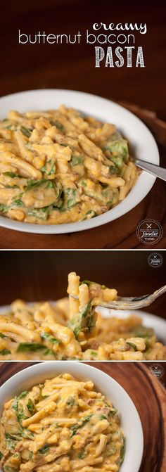 This Creamy Butternut Bacon Pasta combines roasted butternut squash with goat cheese, bacon, and pasta to create a rich and delicious meal perfect for fall.
