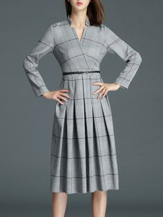 Shop Midi Dresses - Gray A-line Elegant Checkered/Plaid Polyester Midi Dress online. Discover unique designers fashion at StyleWe.com.
