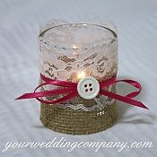 Rustic Wedding Votive Candle - Button Accent