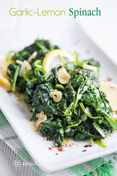 Best spinach recipe with garlic and lemon. This vegetarian spinach recipe is a healthy spinach recipe. Easy recipe with spinach, garlic, vegetable recipe # Easy Recipes vegetables Easy Vegetarian Garlic Spinach Recipe with Lemon Best Spinach Recipes, Healthy Vegetable Recipes, Garlic Recipes, Vegetarian Recipes Dinner, Lemon Recipes, Vegetarian Cooking, Vegetable Dishes, Easy Recipes, Recipes With Vegetables