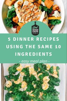 This simple meal plan uses the same 10 ingredients to create 5 weeknight dinner recipes. If you hate purchasing a large number of ingredients each week, this meal plan is for you! This plan not only keeps your grocery list short but can help to reduce food waste. #mealplan #mealplanning #healthyrecipe #recipe #dinner #easydinner Easy Healthy Dinners, Healthy Dinner Recipes, Food Tips, Food Hacks, Easy Meal Plans, Food Waste, Nutrition Tips, Turkey Recipes, Recipe Using