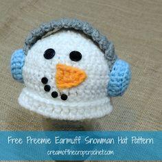 Cream Of The Crop Crochet ~ Preemie Earmuff Snowman Hat {Free Crochet Pattern}