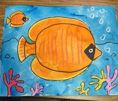 Tropical Fish, made with crayons, marker and liquid watercolor paint. #artprojectsforkids
