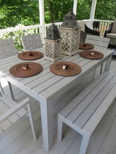 Falster ikea - I love the looks of this outdoor dining set. Table $175,Bench $75, Chair $39.
