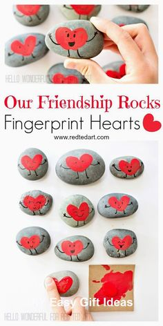 """""""Our Friendship Rocks"""" - what more is there to say? Gorgeous Fringerprint Heart Rocks for Valentines. The perfect Classroom Valentines Gift to make with kids day party for kids crafts Friendship Rocks for Valentine's - Red Ted Art Valentine's Day Crafts For Kids, Valentine Crafts For Kids, Valentines Day Activities, Valentines Day Party, Craft Activities, Valentines Sayings For Kids, Homemade Valentines, Valentine Gifts Ideas, Valentine Wreath"""