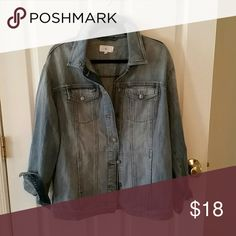 LOFT Lou & Grey Boyfriend denim jacket. Boyfriend denim jacket. Longer length, relaxed fit. NWOT, Never worn.  Awesome lived-in wash and feel. Lou & Grey Jackets & Coats Jean Jackets