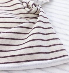 Brushed French Terry Knit Fabric Brown Stripe By The Yard