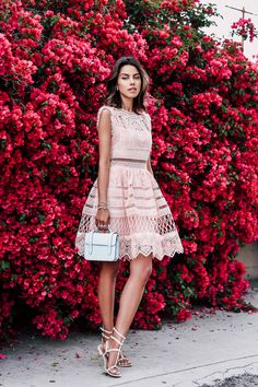 Fit and Flare Dress PANDORA The Spring Collection jewelry | ALEXIS Sage crochet fit-and-flare dress { also love thisone } | REBECCA MINKOFF Georgina studded sandals | STRATHBERRY OF SCOTLAND Mc Nanopowder blue bag Fashion by VivaLuxury