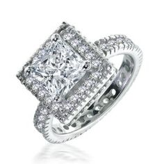 Bling Jewelry Sterling Silver Vintage 2.05 ct Princess Cut CZ Engagement Ring