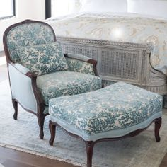 The Marseilles Chair is an exemplary bergère, designed in classic Louis XVI style. The plush cushions are covered in a jacquard-woven, yarn-dyed fabric with a velvet coral pattern. Outside shell upholstered with a coordinating solid for a designer look. Upholstered Furniture, Home Furniture, Bergere Chair, French Country Living Room, French Chairs, Antique Chairs, White Decor, Seat Cushions, Ottoman