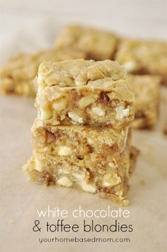White Chocolate & Toffee Blondies - May cut down on the white chocolate chips amount and add some macadamia nuts instead OR perhaps add flaked coconut in place of the toffee pieces