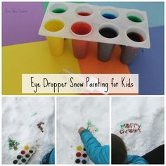 Snow painting with kids in winter using an eye dropper