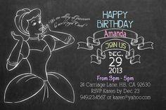 Chalkboard Style Cinderella Theme- Birthday Party Invitation, Digital or Printed. $15.00, via Etsy.