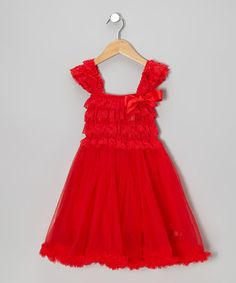 Take a look at this Red Ruffle Babydoll Dress - Toddler & Girls by Tutus by Tutu AND Lulu on #zulily today!