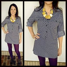 New delivery from Jade! Black and white printed tunic XS-XL $72. We have over wine leggings and accessorized with a mustard necklace! Open till 6!