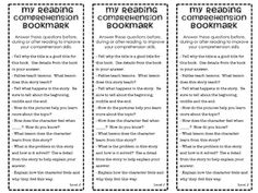 Great idea to have a bookmark that reinforces the types of questions you would want your students to ask themselves as readers.